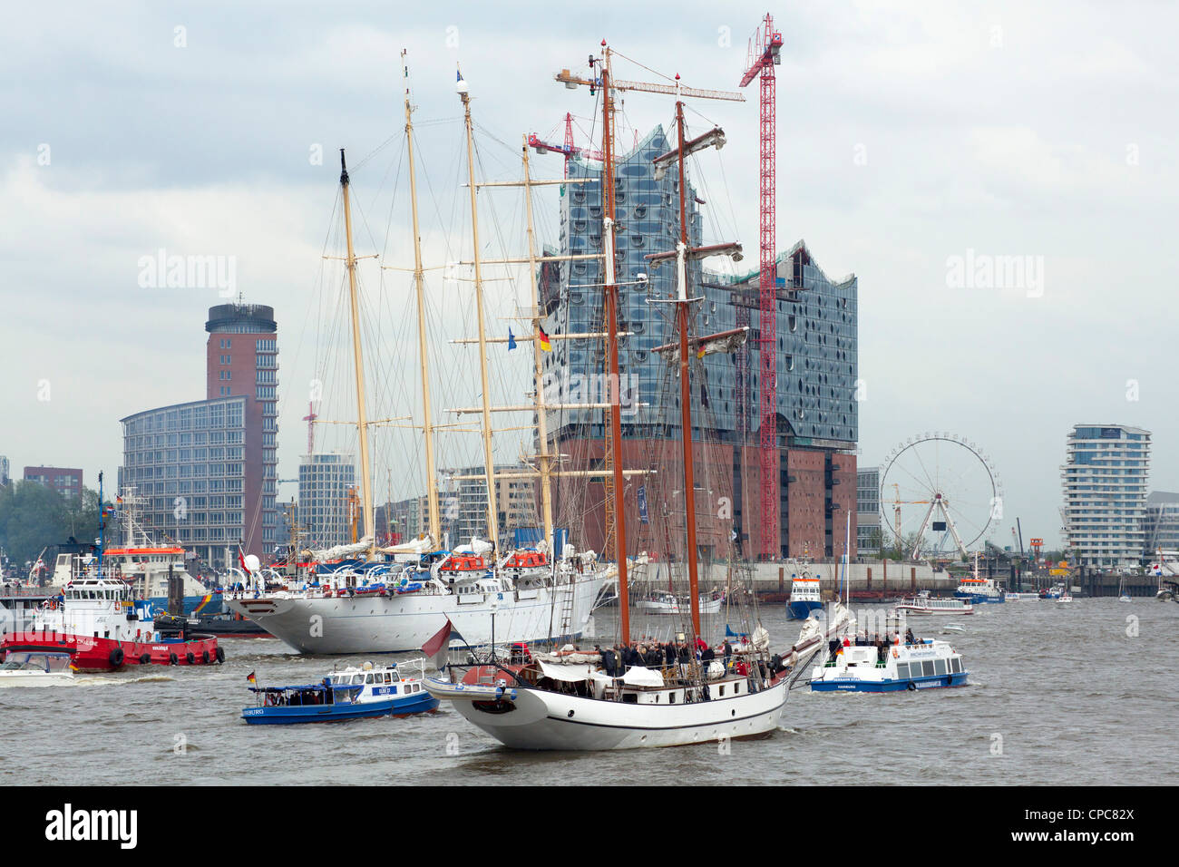 entering port parade, Harbour Birthday, Hamburg, Germany Stock Photo
