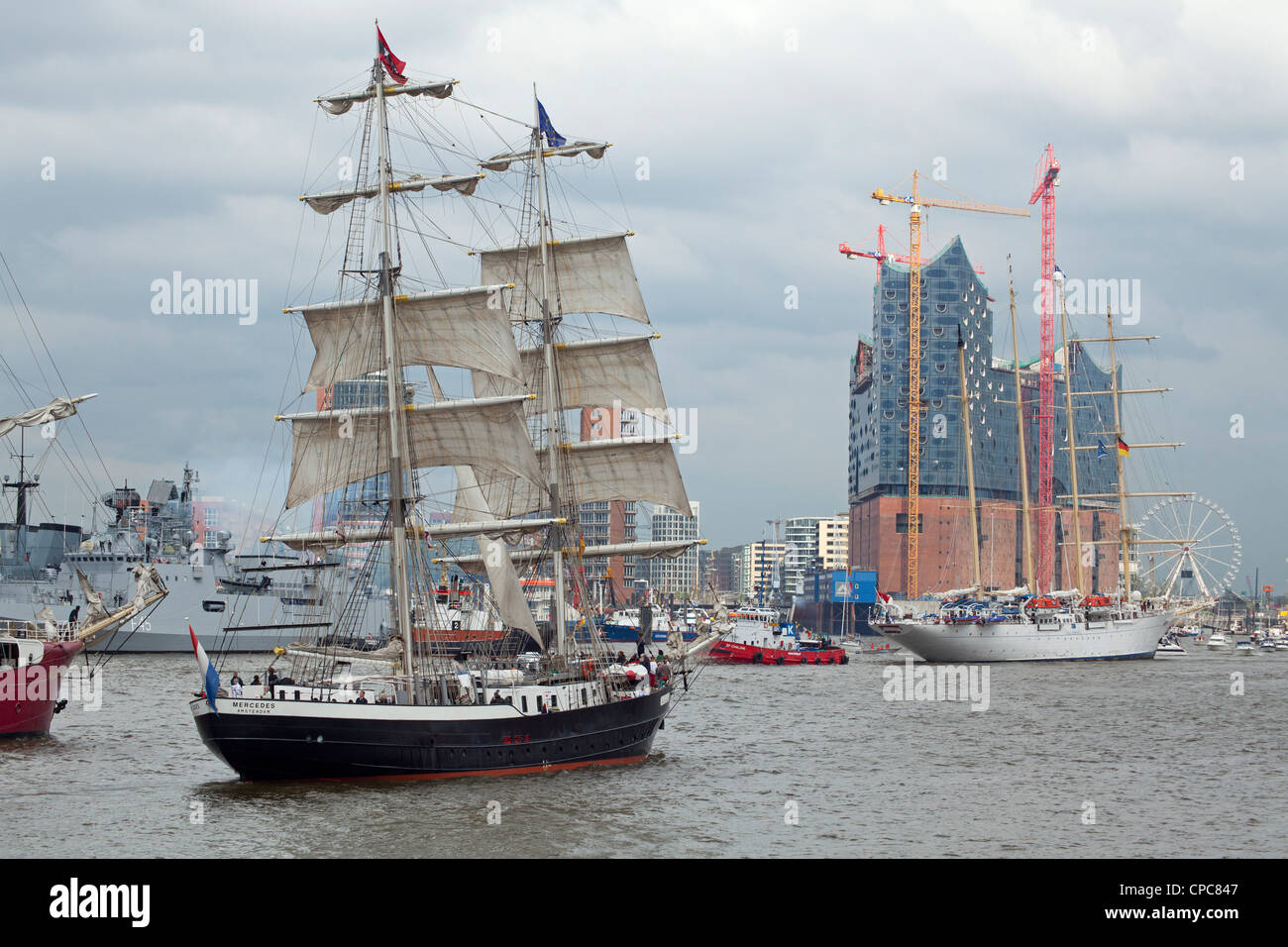 entering port parade, Harbour Birthday, Hamburg, Germany Stock Photo