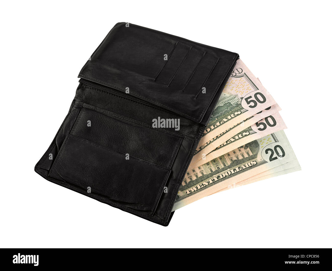 Leather wallet with some dollars, clipping path Stock Photo