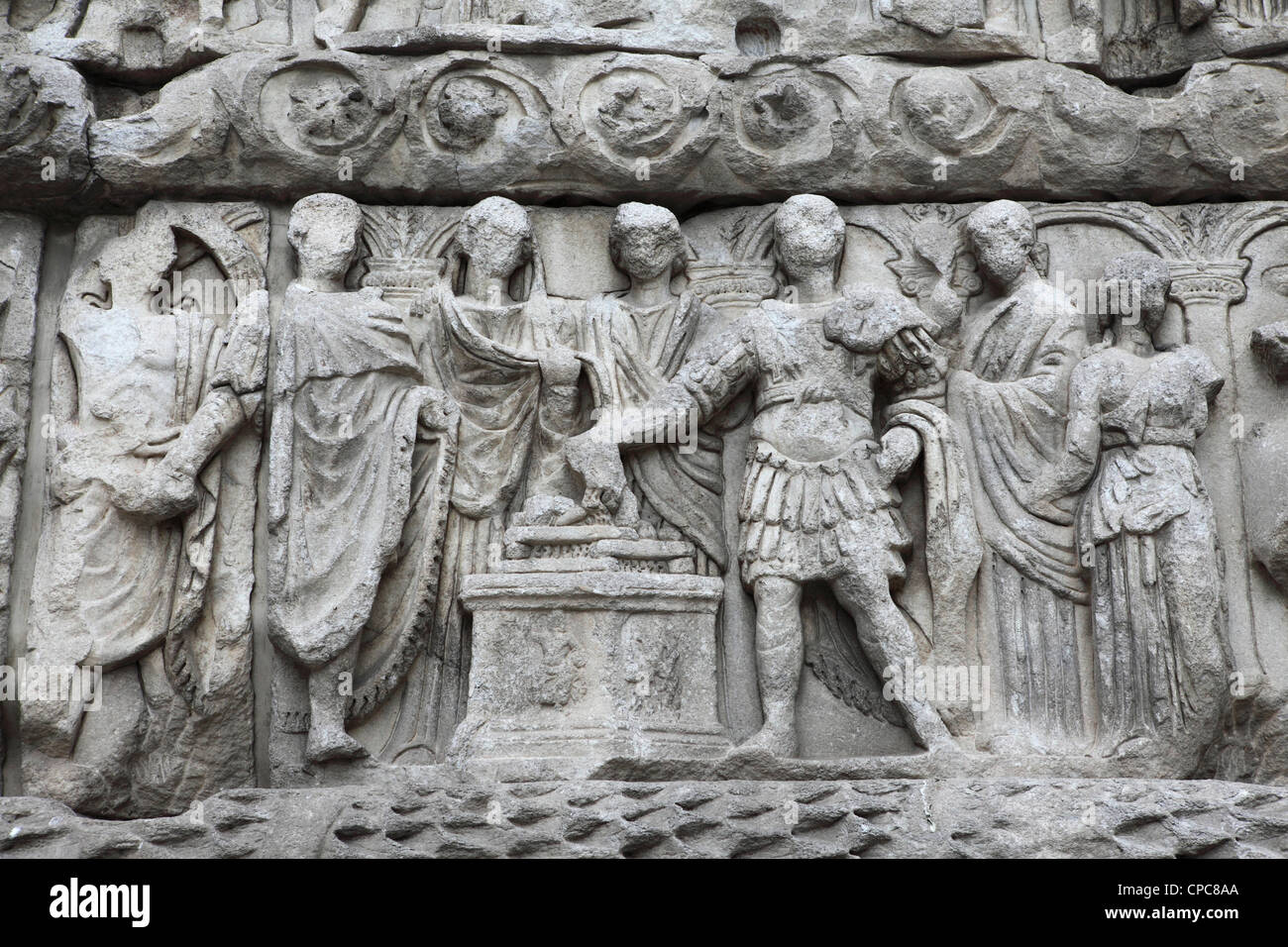 Roman bas relief sculptures on the arch of galerius also