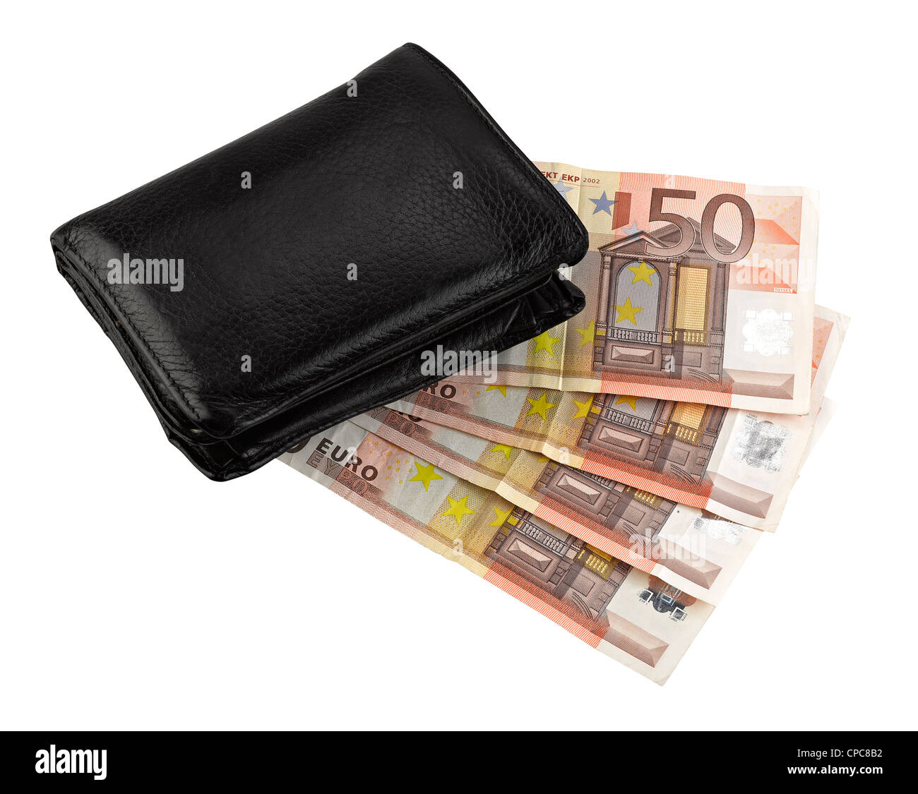 Leather wallet with some euros, clipping path Stock Photo