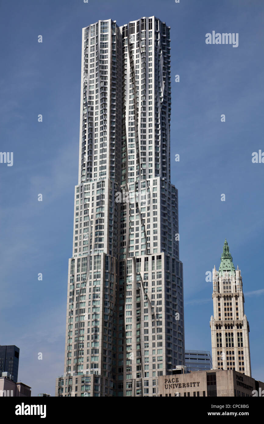 New York by Gehry building at 8 Spruce Street in Manhattan, New York City. Designed by Frank Gehry. - Stock Image