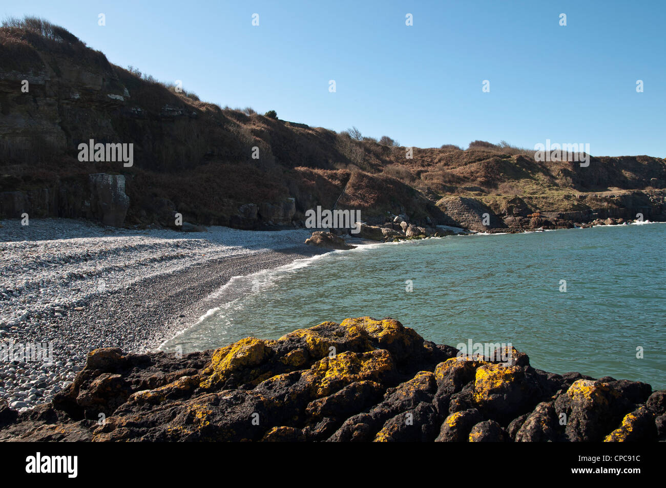 Fedw Fawr  near to Mariandyrys on the North coast of Anglesey looking towards Puffin Island. Stock Photo
