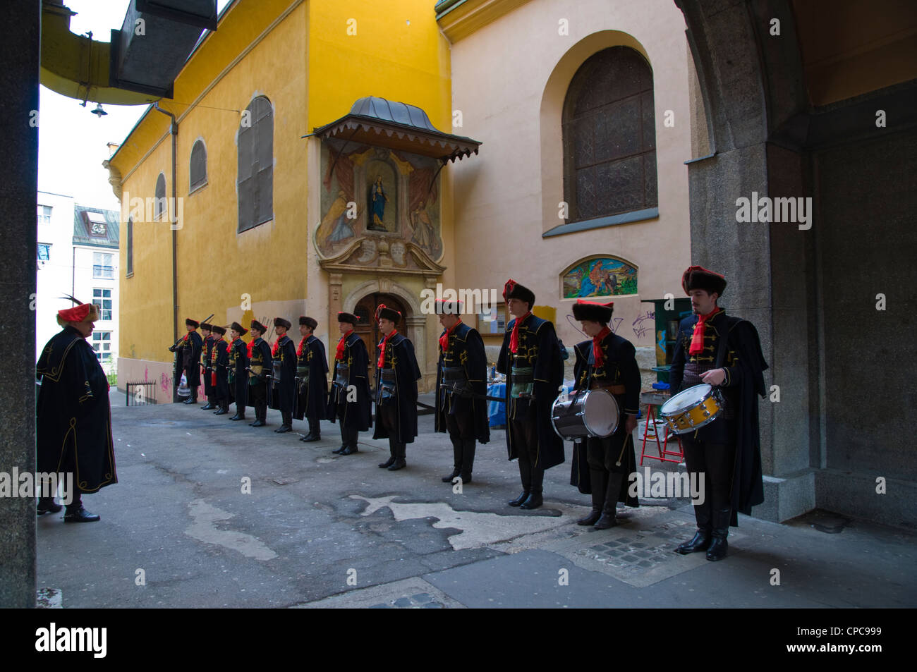 Saturday morning change of the guards of the Kravat regiment at Dolac market Zagreb Croatia Europe - Stock Image