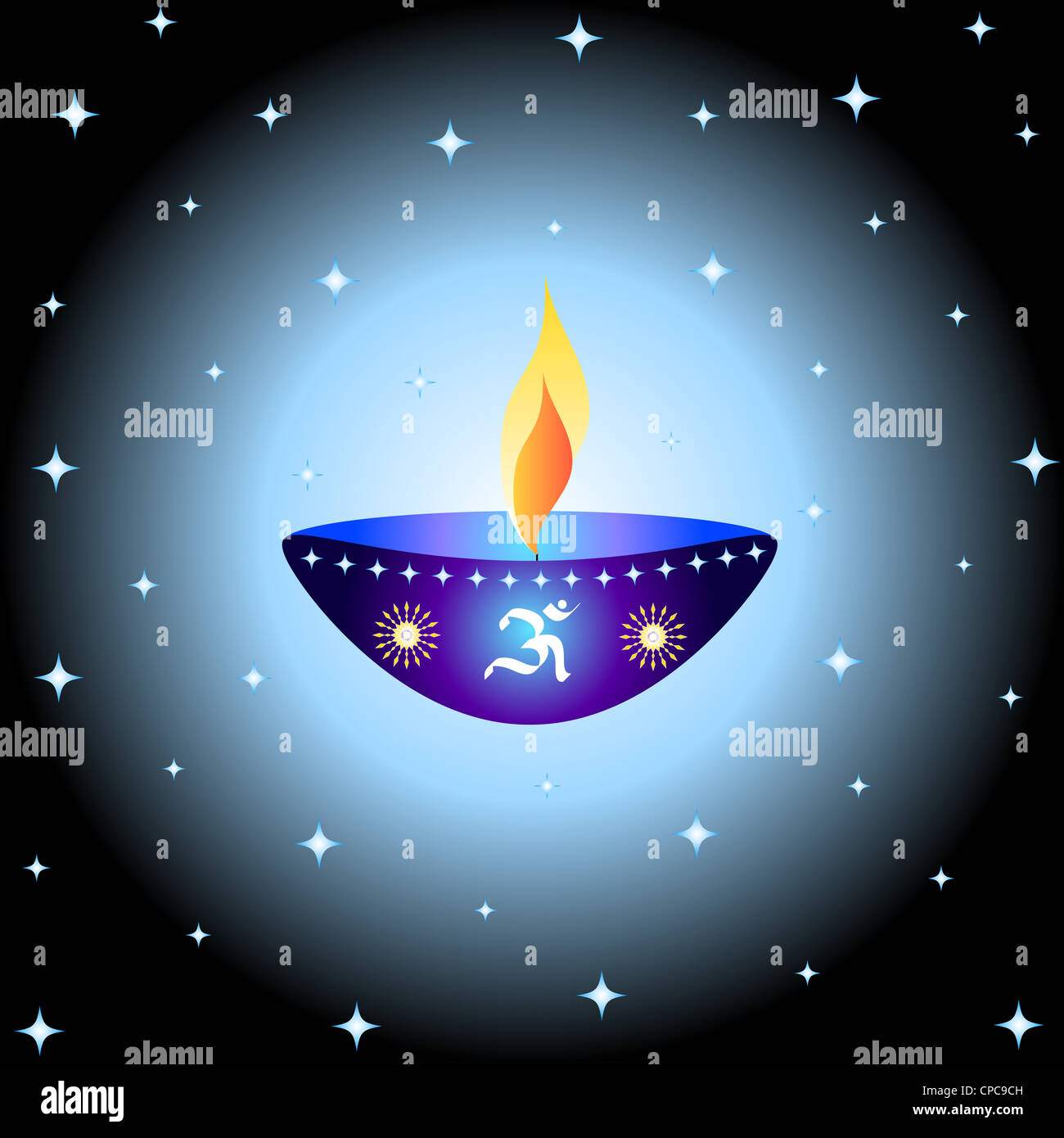 Indian festival Diwali lamp with OM symbol Stock Photo