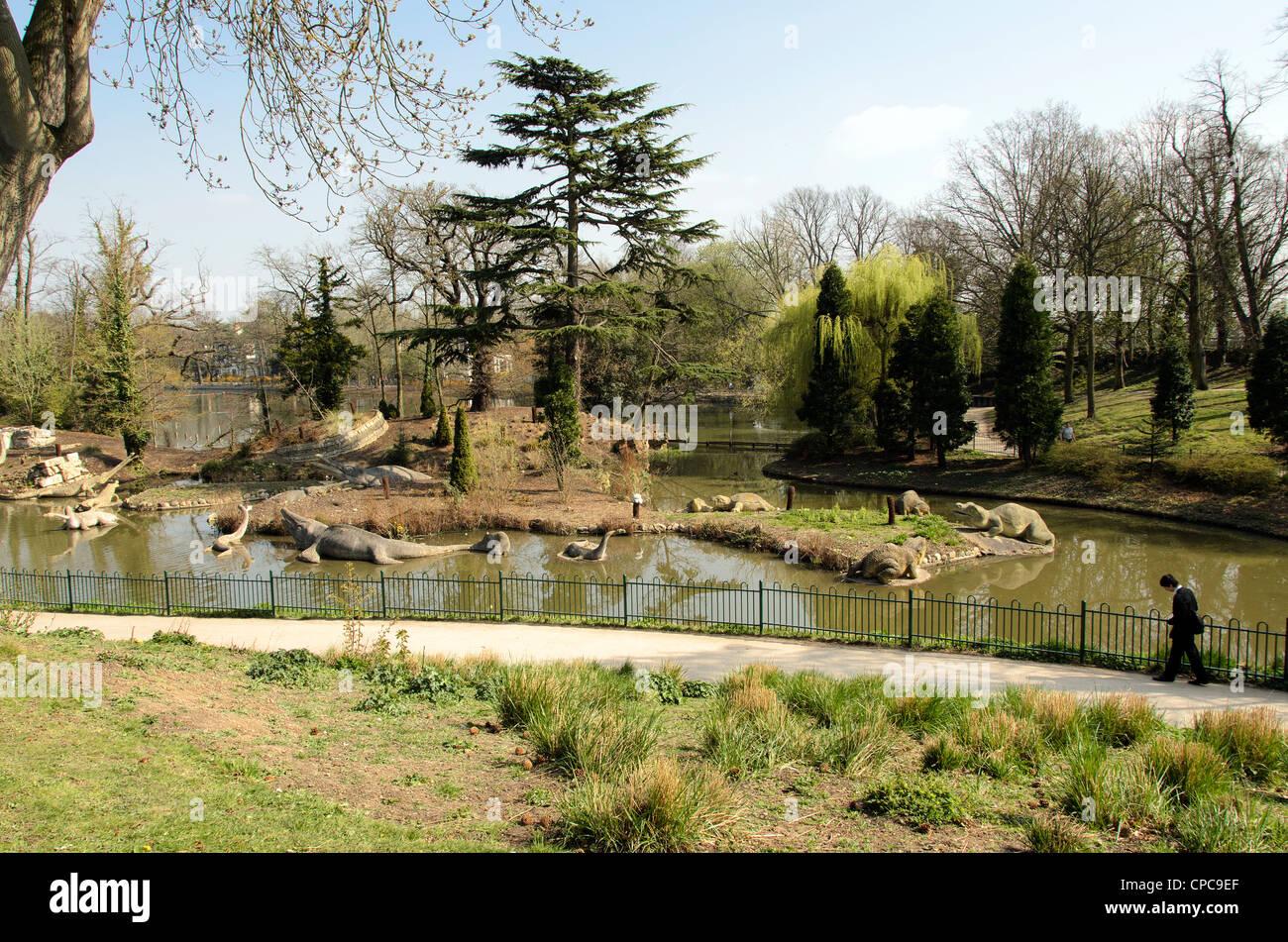 Crystal Palace Parks prehistoric monster trail - Sydenham, London - England - Stock Image