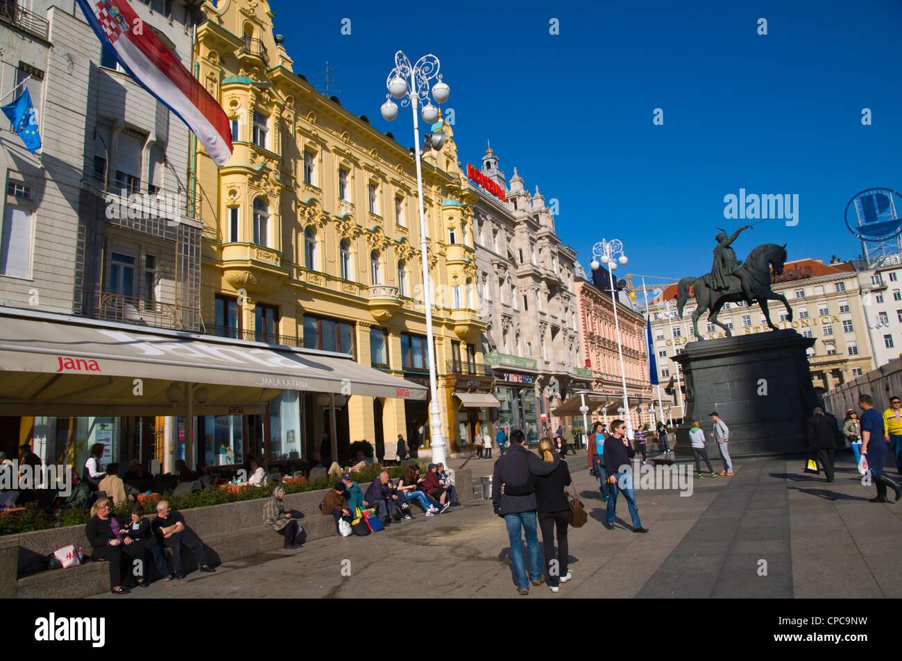 Trg bana Jelačića the Jelacic square Zagreb Croatia Europe - Stock Image