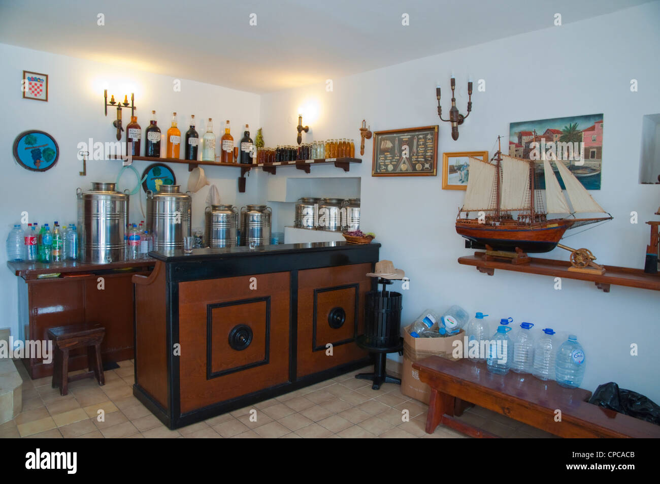 Wine bar and shop Stari Grad in Hvar island Croatia Europe - Stock Image