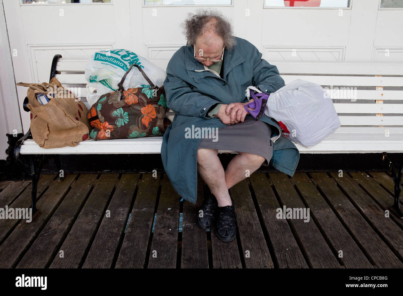Homeless lady - Stock Image