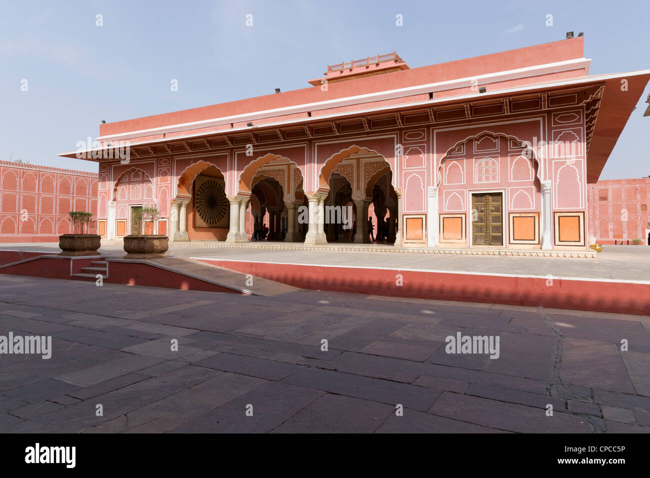 City Palace, Jaipur, which includes the Chandra Mahal and Mubarak Mahal palaces is a palace complex in Jaipur - Stock Image