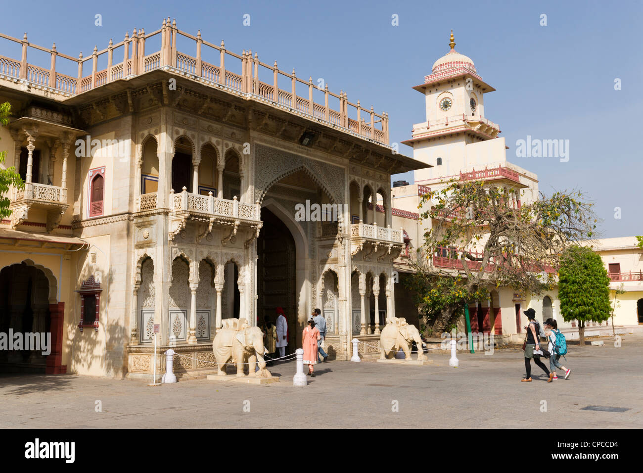 Entrance arch to the Chandra Mahal or Chandra Niwas. The most commanding building in the City Palace complex. - Stock Image
