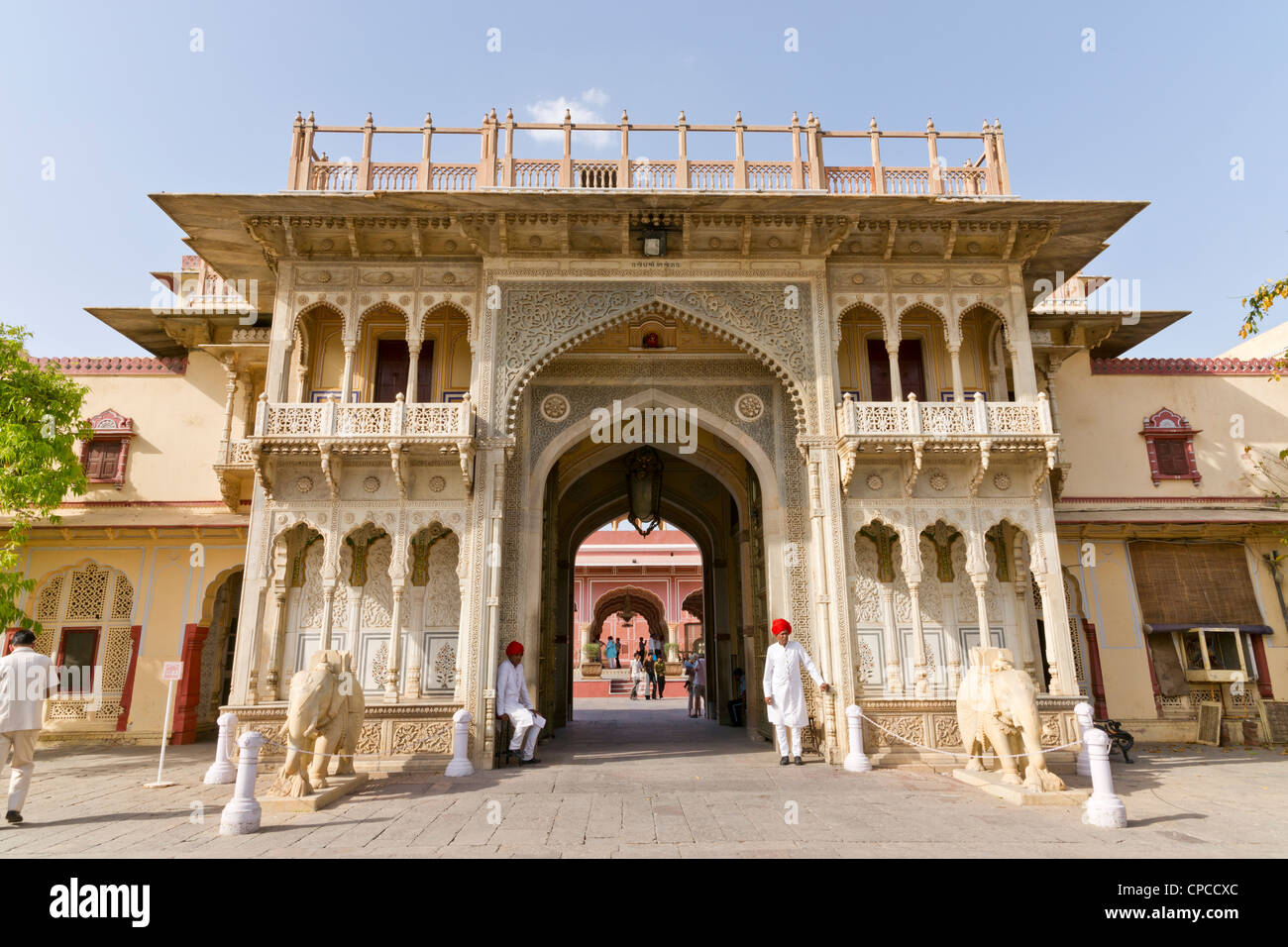 Entrance arch to the Chandra Mahal or Chandra Niwas. The most commanding building in the City Palace complex. Stock Photo