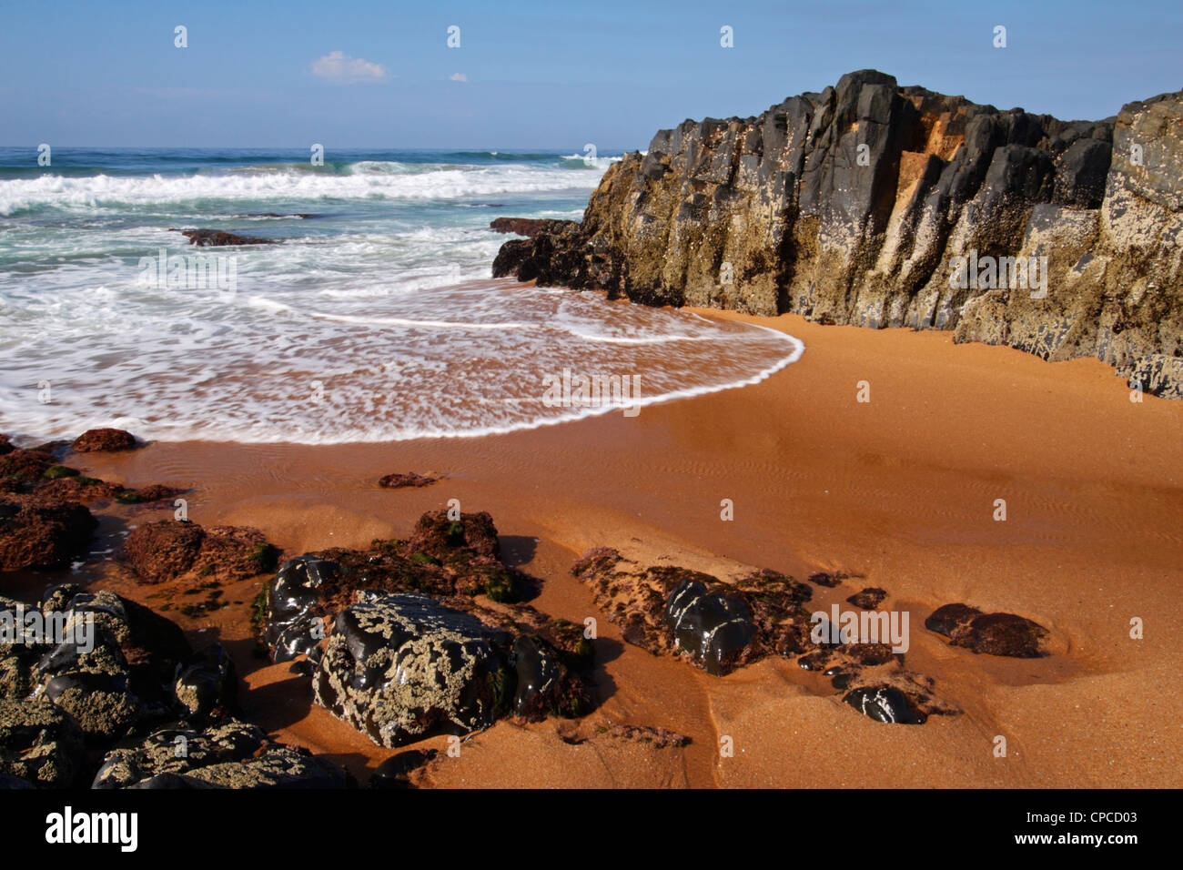 A sandy bay at Sheffield Beach along the East coast of Kwazulu Natal in South Africa Stock Photo
