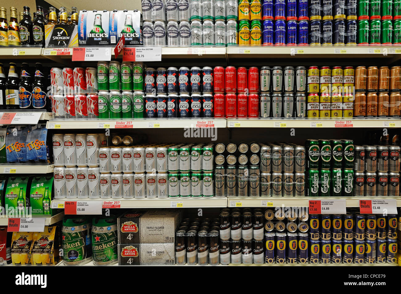 Beer on the Shelves of a Supermarket, UK. - Stock Image