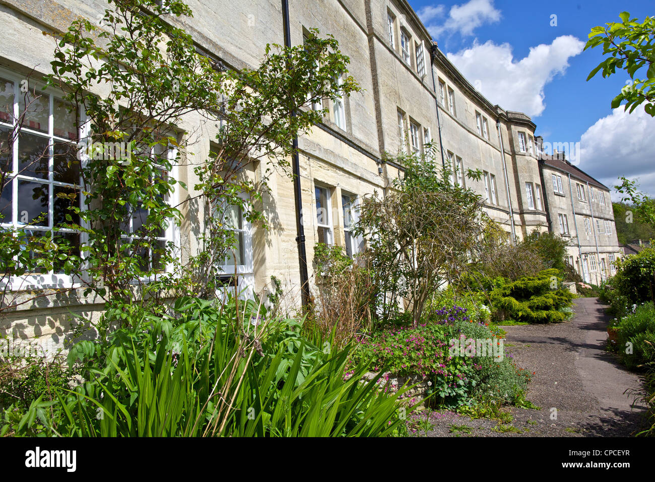 Weaver's cottages at Tory in Bradford Upon Avon in Wiltshire - Stock Image