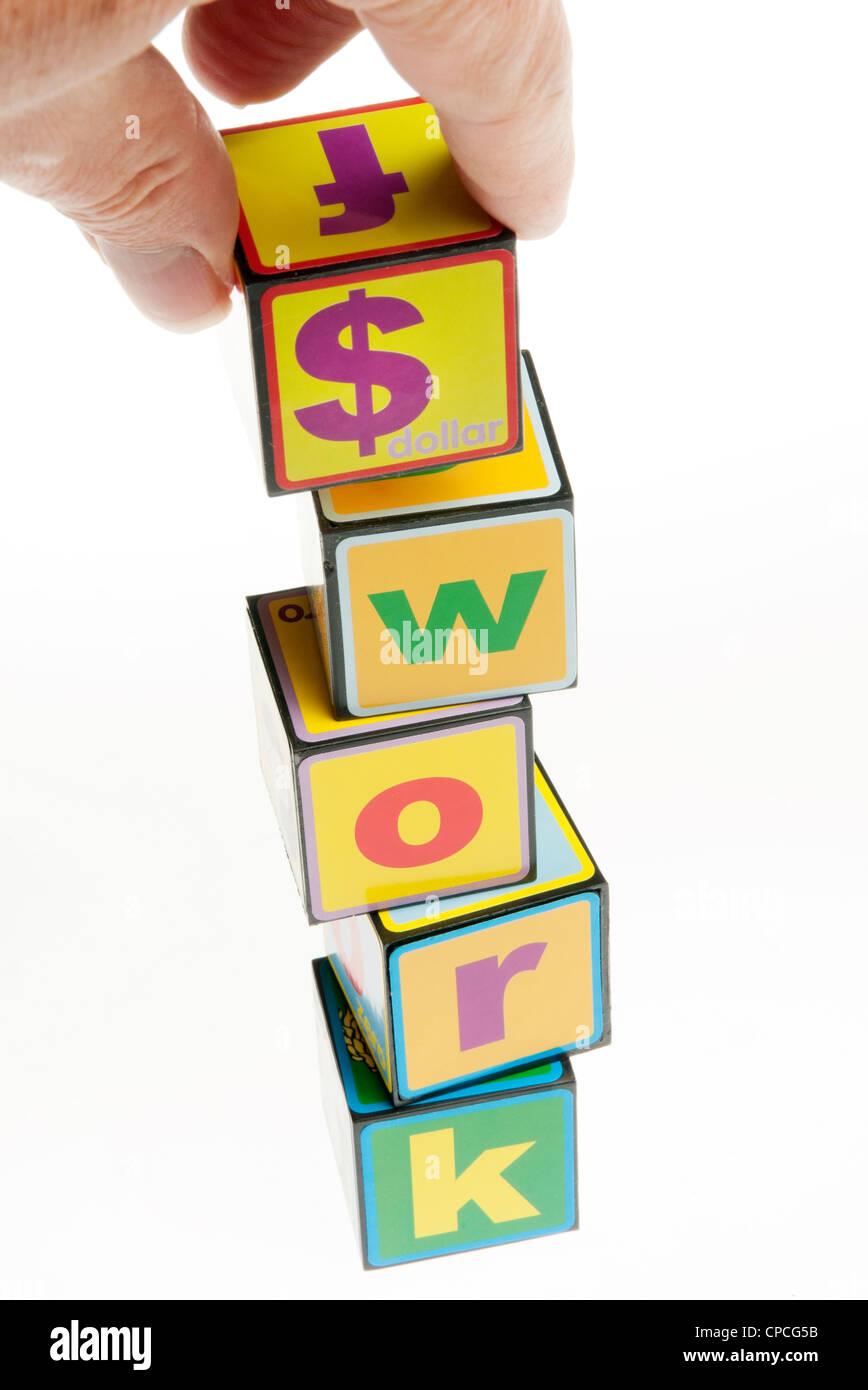 toy building blocks concept of money and work with the dollars - Stock Image