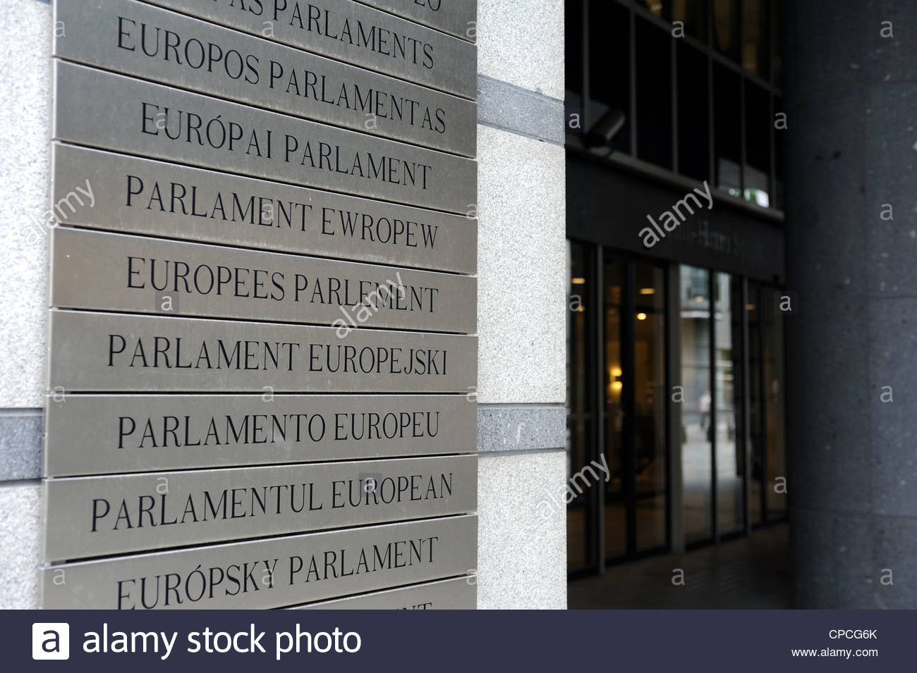 Brussels, Belgium European Parliament sign in many languages. - Stock Image
