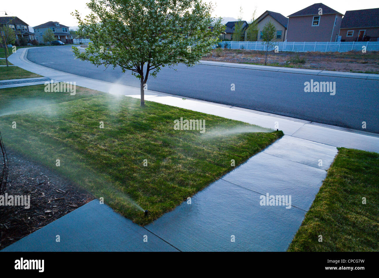 Sunset colors reflect on a wet sidewalk. Automated irrigation system waters the grass lawn on the property of a - Stock Image