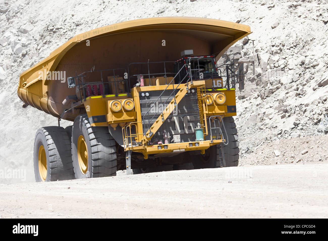 Dump Truck at Copper Mine in Chile - Stock Image