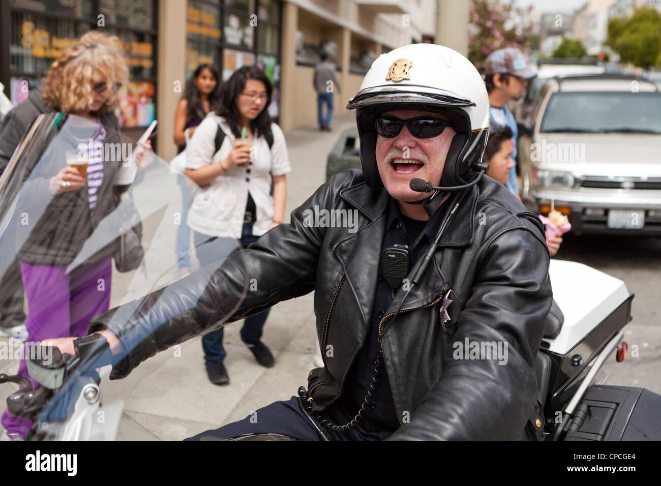 US motorcycle cop - San Francisco, California USA - Stock Image