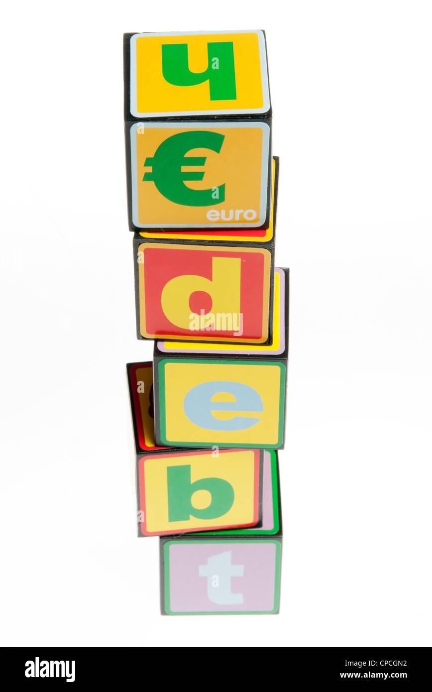 debt concept with toy buiding blocks - Stock Image