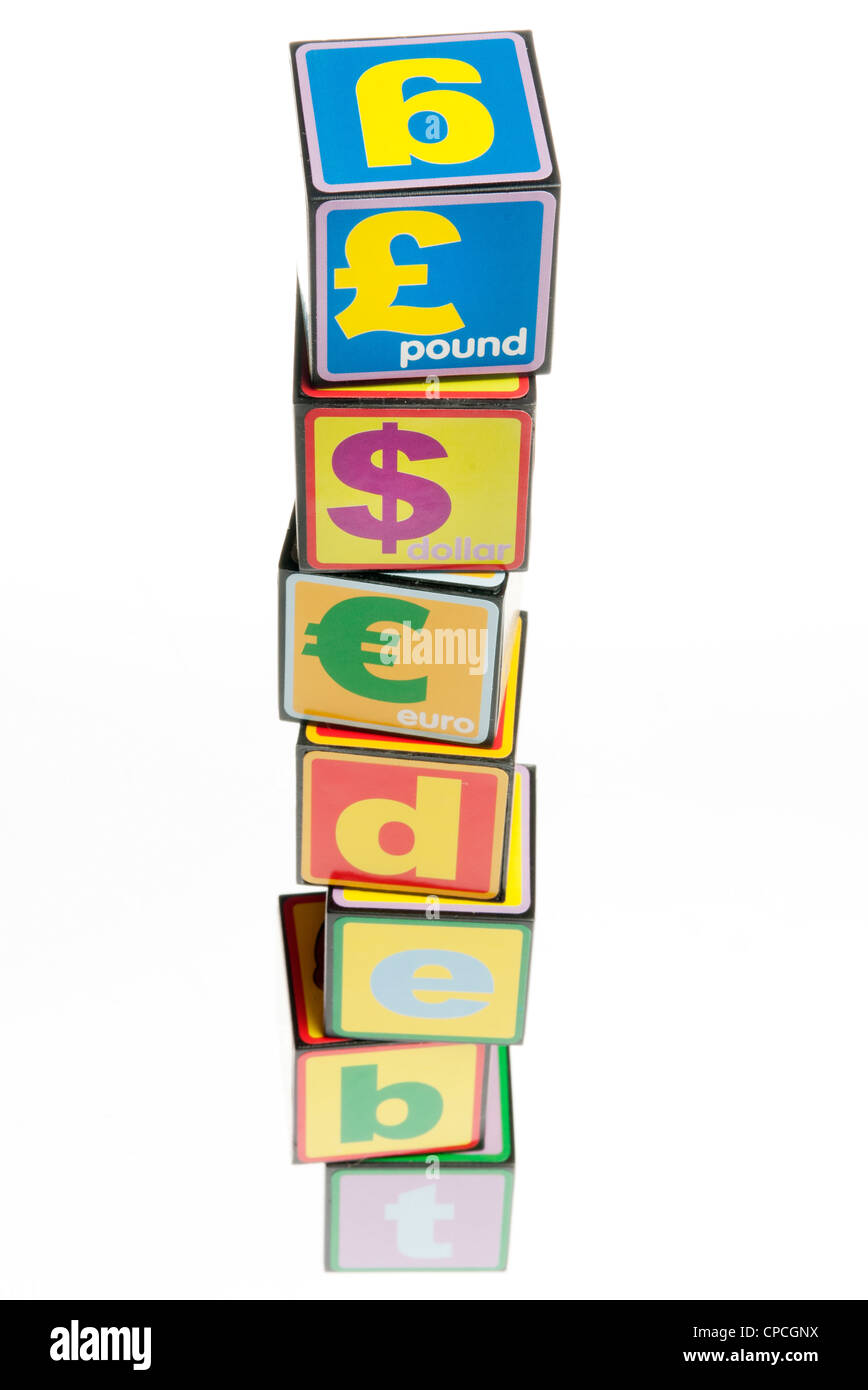 world debt concept with toy building bricks - Stock Image