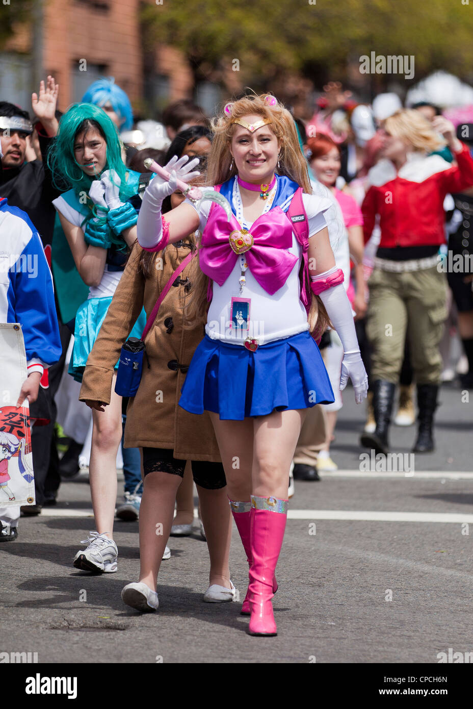 Caucasian woman in Sailor Moon costume in cosplay - San Francisco, California USA - Stock Image