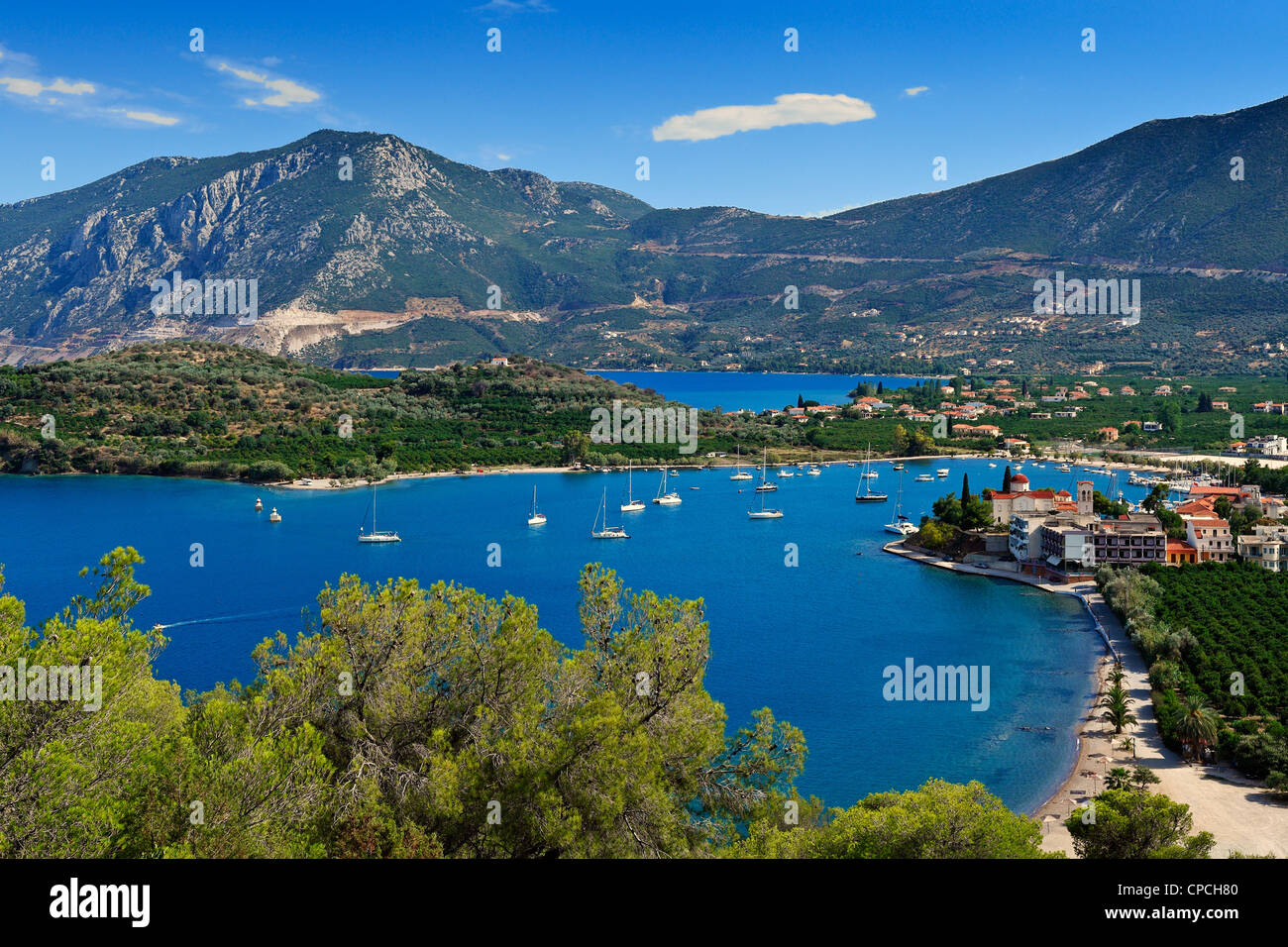 The village Ancient Epidaurus in Peloponnese, Greece - Stock Image