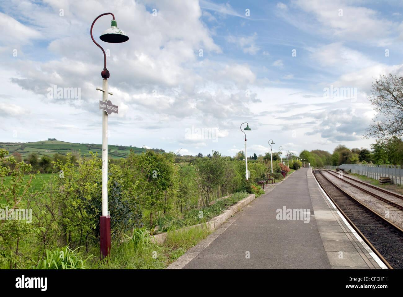 Avon riverside station on the Avon valley railway line near Saltford and Bitton, Bristol, Uk on fine day - Stock Image