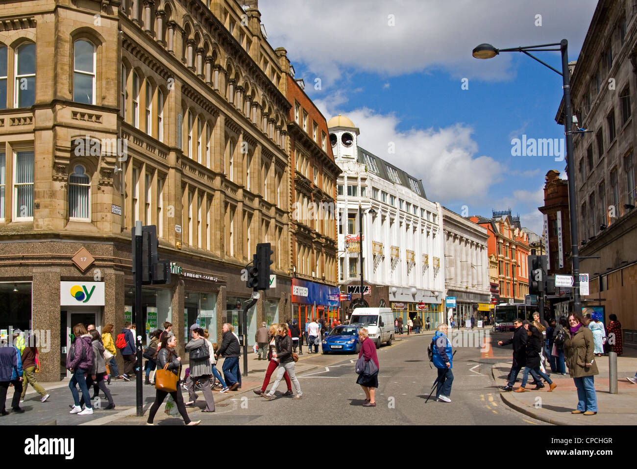Oldham Street Manchester as Seen from Piccadilly - Stock Image