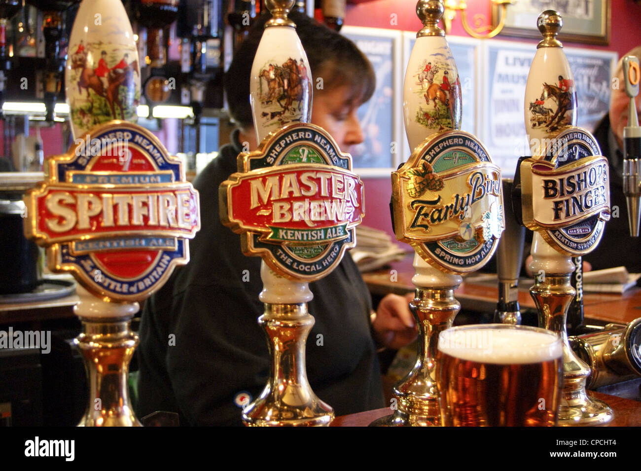 Shepherd Neame real ale handpumps and pump clip designs,  Rochester, Kent, England - Stock Image