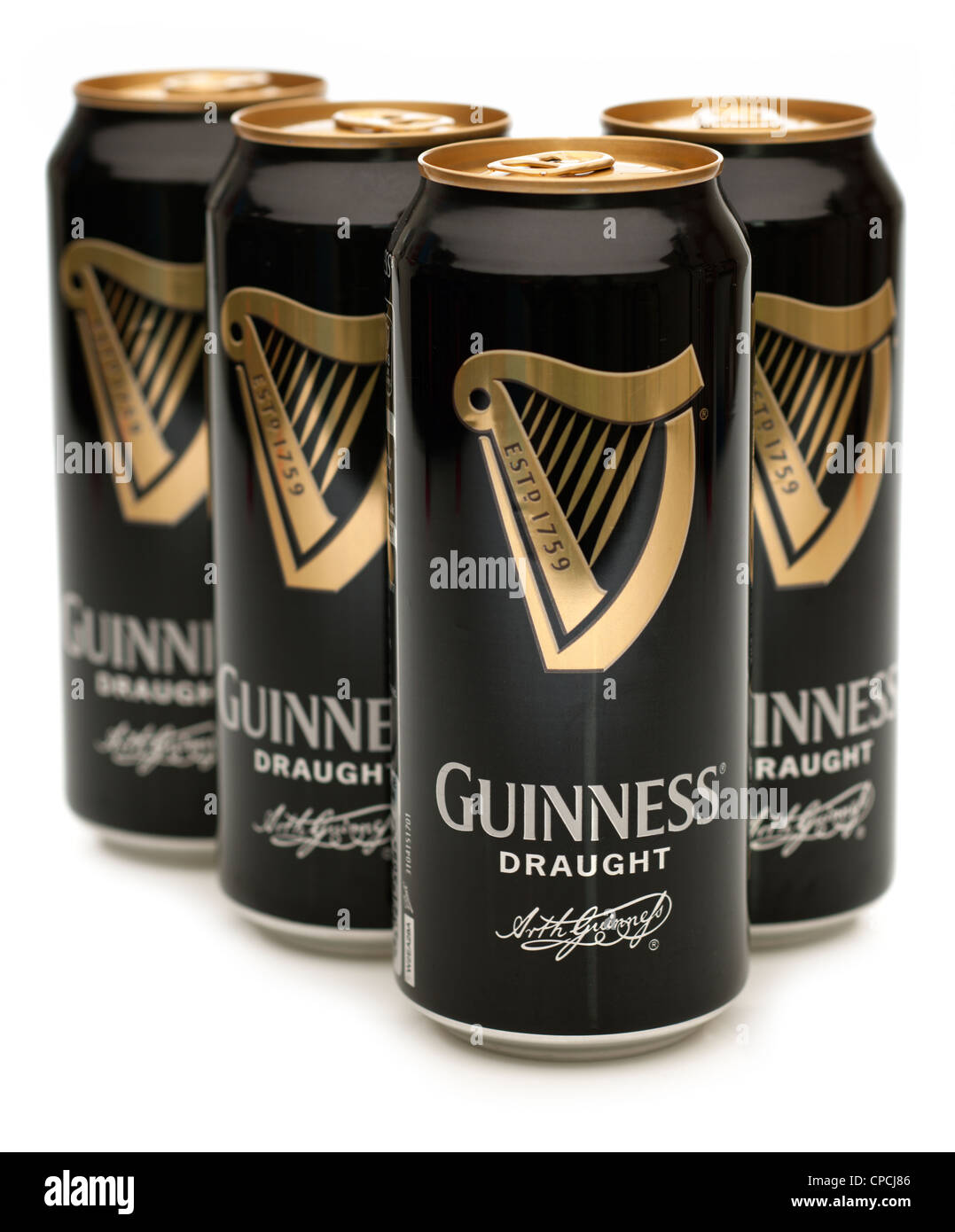 Four cans of draught guinness - Stock Image