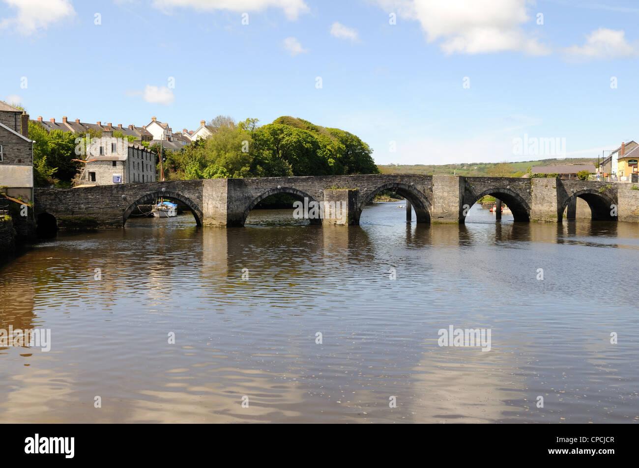 Seven Arch stone  bridge crossing the river Teifi at Cardigan town Abertefi Wales Cymru UK GB Stock Photo