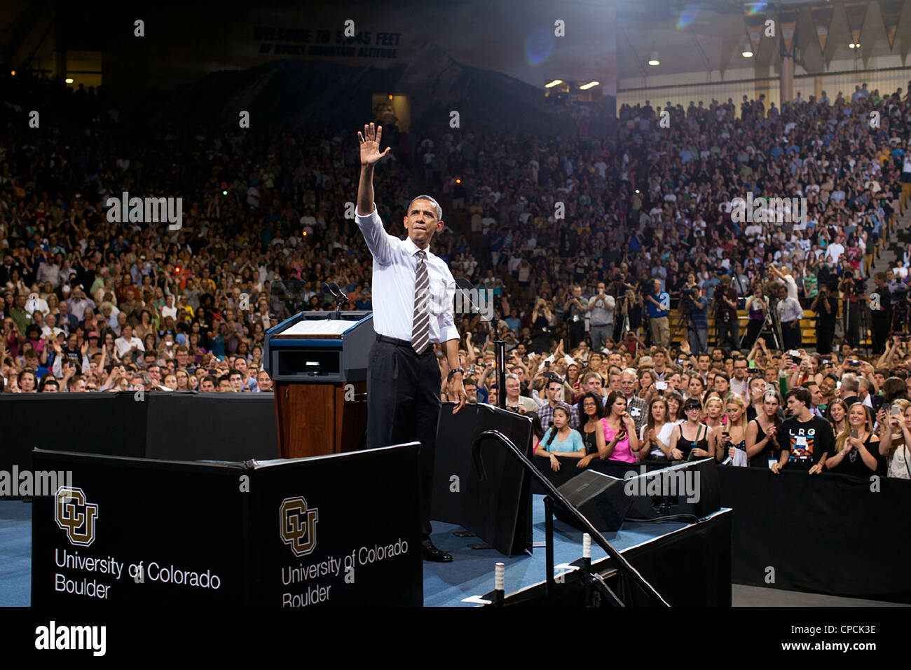 President Barack Obama acknowledges applause following his remarks on student loan interest rates at the University - Stock Image