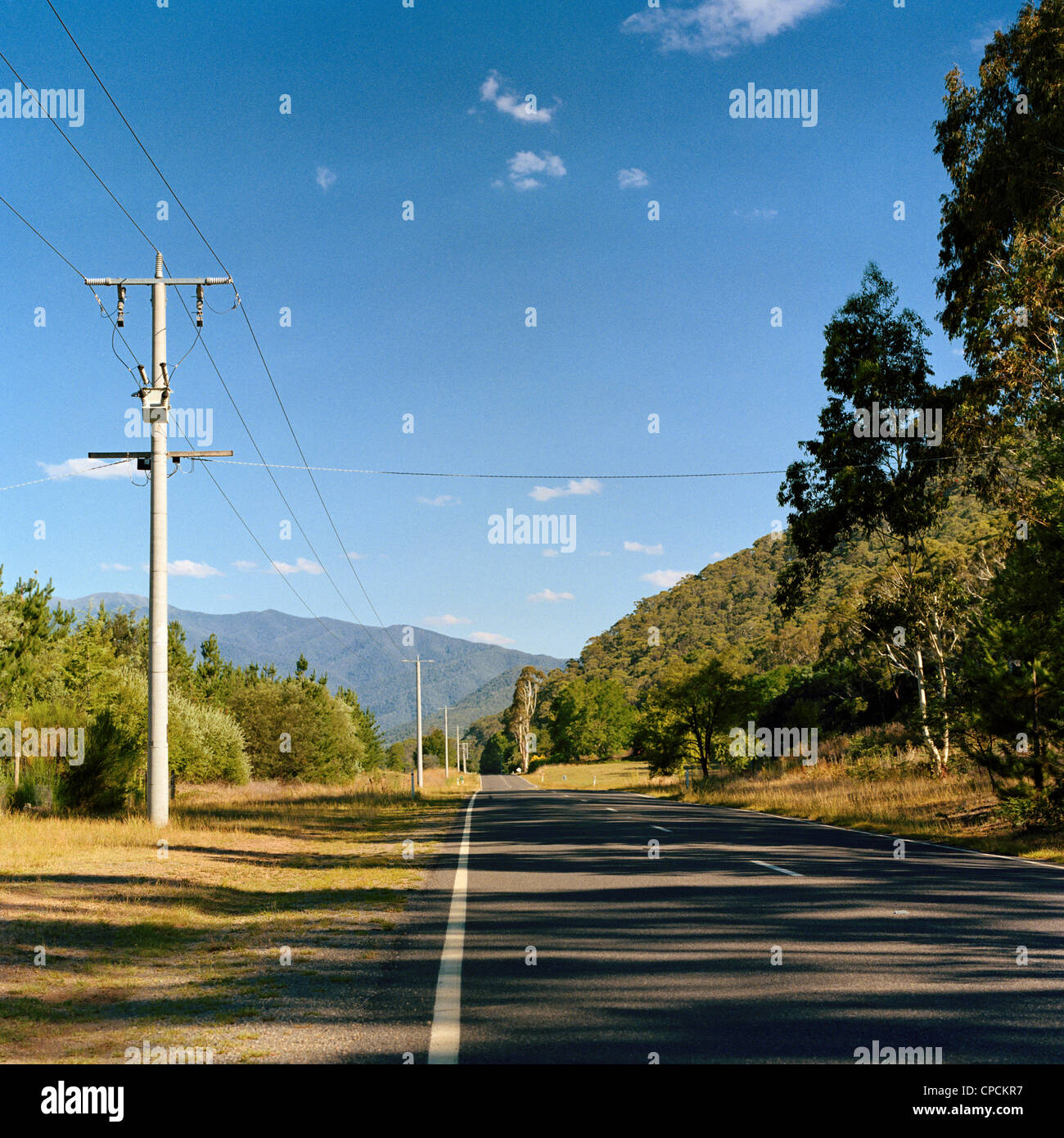 Main road passing Harrietville in the Victorian High Country Australia - Stock Image