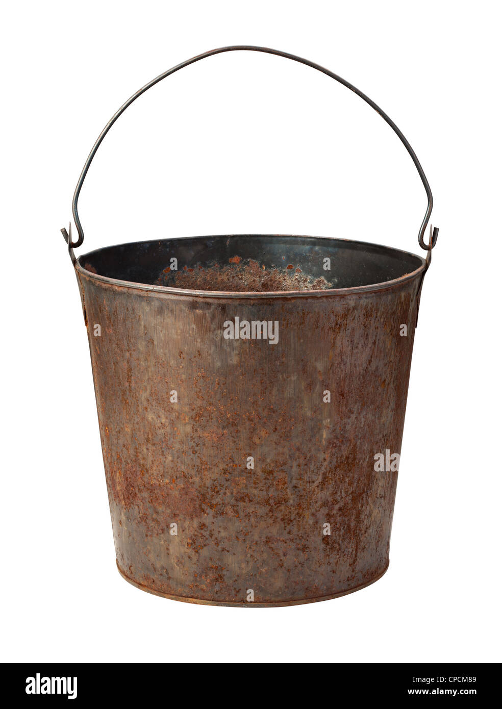 Old Rusty Bucket Isolated on a white background. - Stock Image