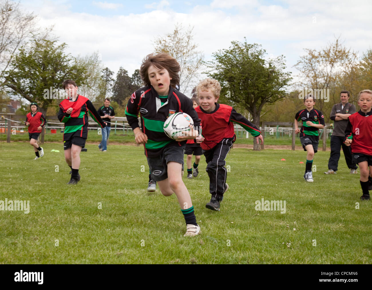 Junior boys rugby match, Newmarket Suffolk UK - Stock Image