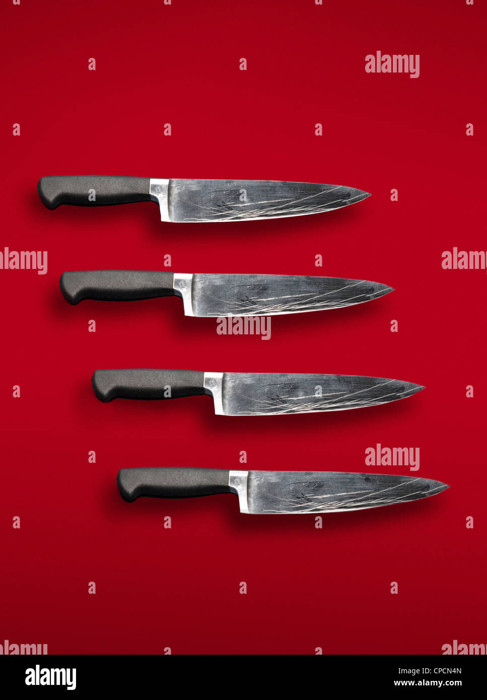 Close up of scratched knives - Stock Image