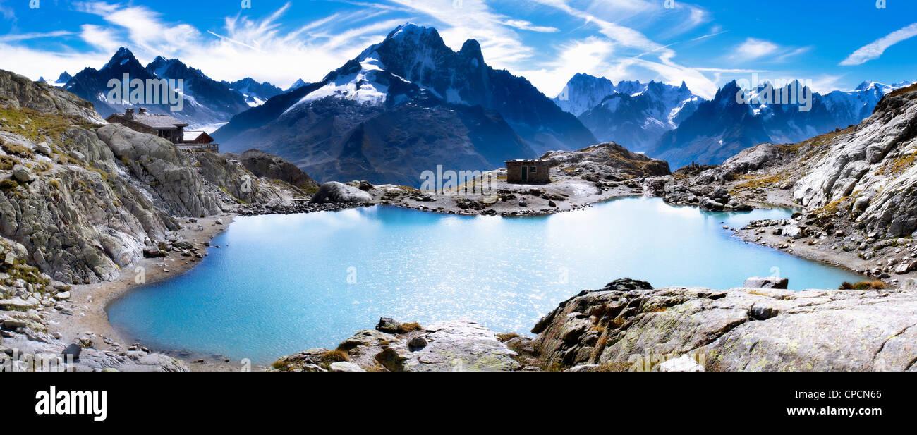 Aerial view of mountain lake - Stock Image