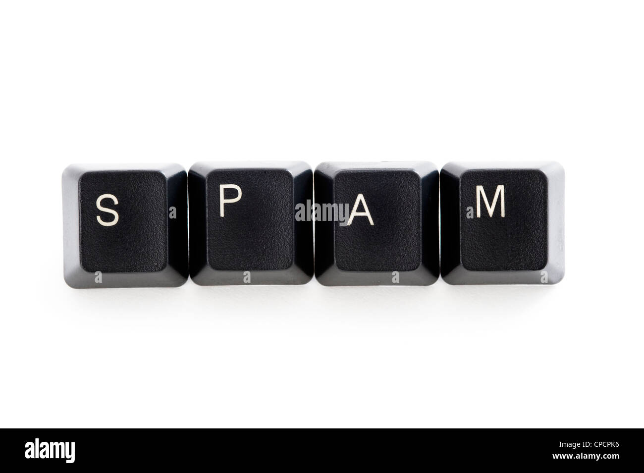 computer keys spelling the word spam on white background - Stock Image