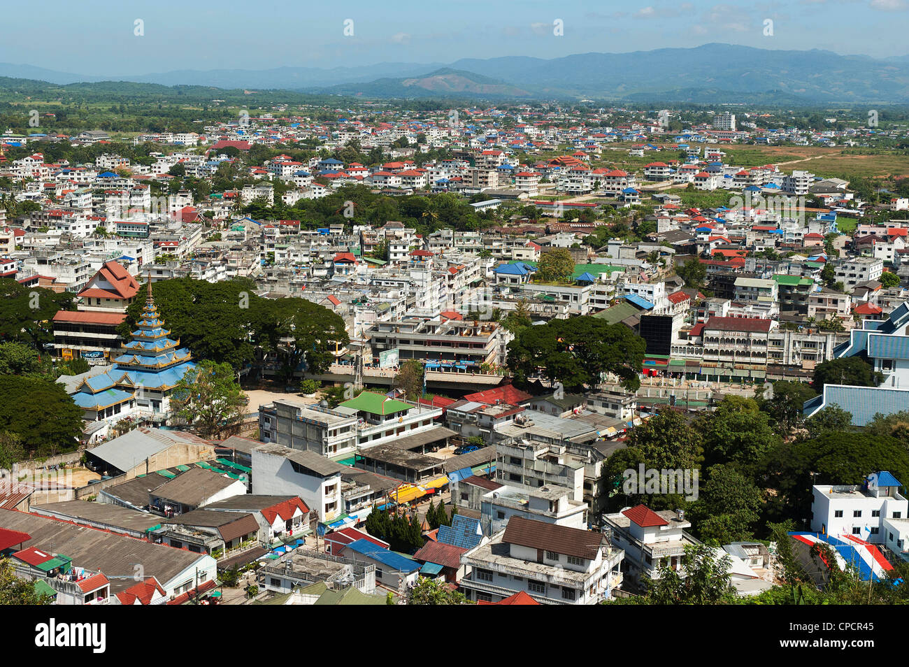 Elk208-5121 Thailand, Mae Sai, town from above - Stock Image