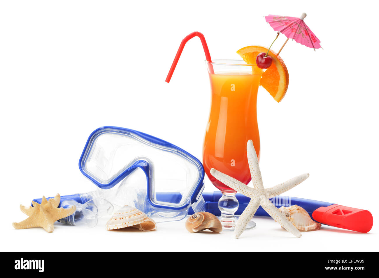 Diving equipment and summer refreshing drink on white background - Stock Image