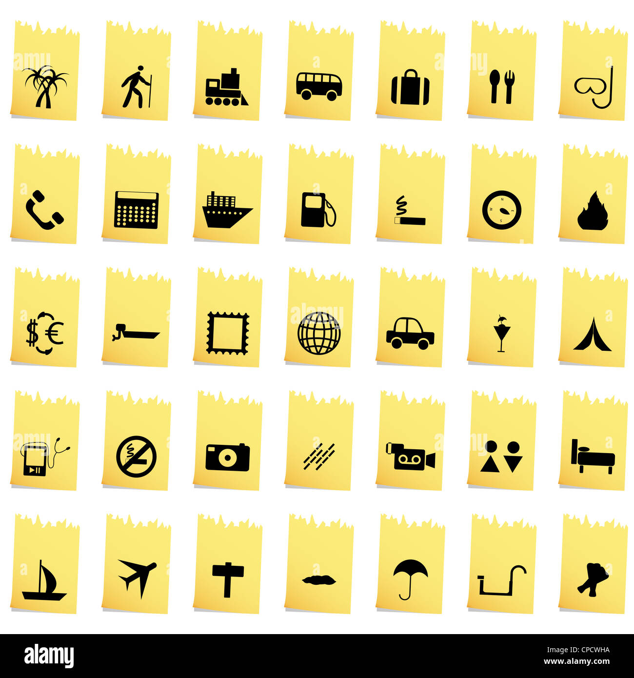 Travel set of different vector web icons - Stock Image