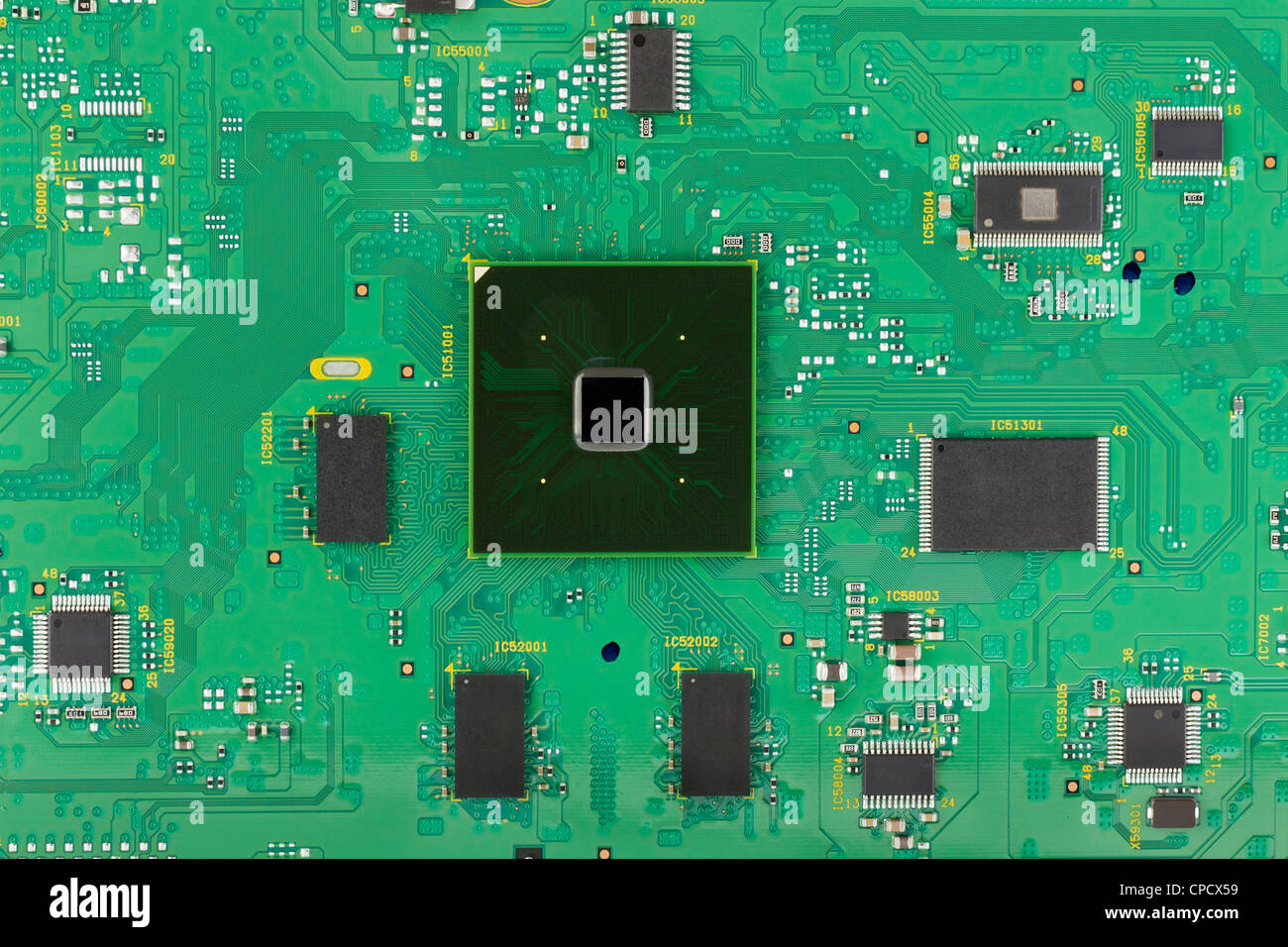 The Modern Printed Circuit Board With Electronic Components Macro Pcb Manufacturing Low Cost Background Mass Production Logos And Trademarks Removed