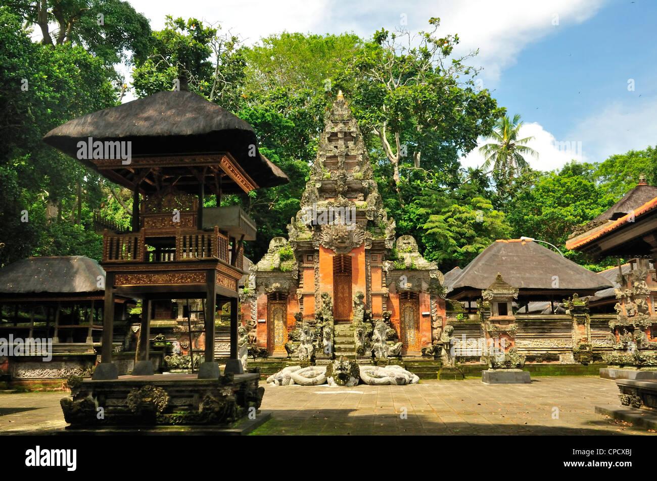 Temple inside Ubud Monkey forest, Ubud, Bali, Indonesia, Asia - Stock Image