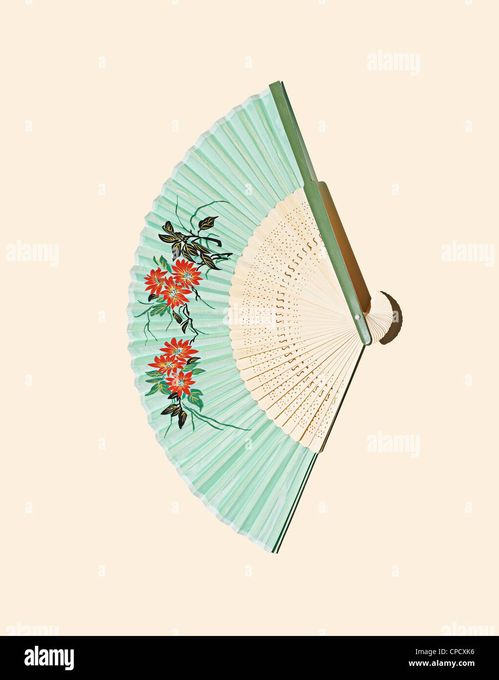 Close up of decorative fold out fan - Stock Image