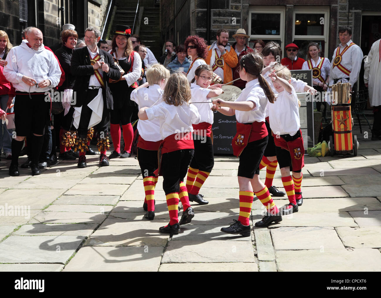 Maltby Phoenix Nestlings rapper dance side perform at the Holmfirth Festival of Folk 2012 - Stock Image
