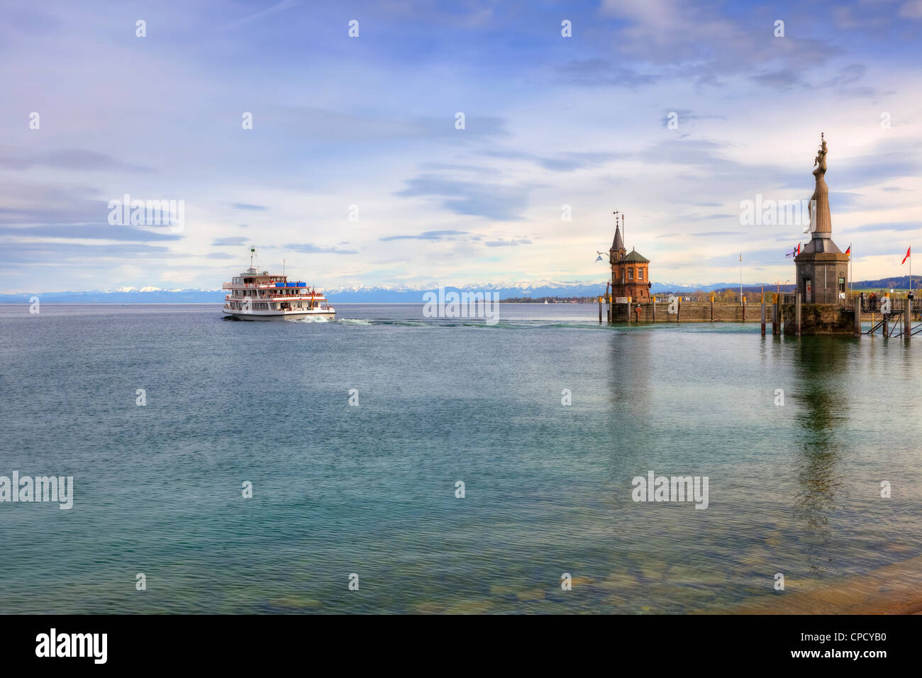 Evening, Harbour, Constance, Baden-Wurttemberg, Germany Stock Photo
