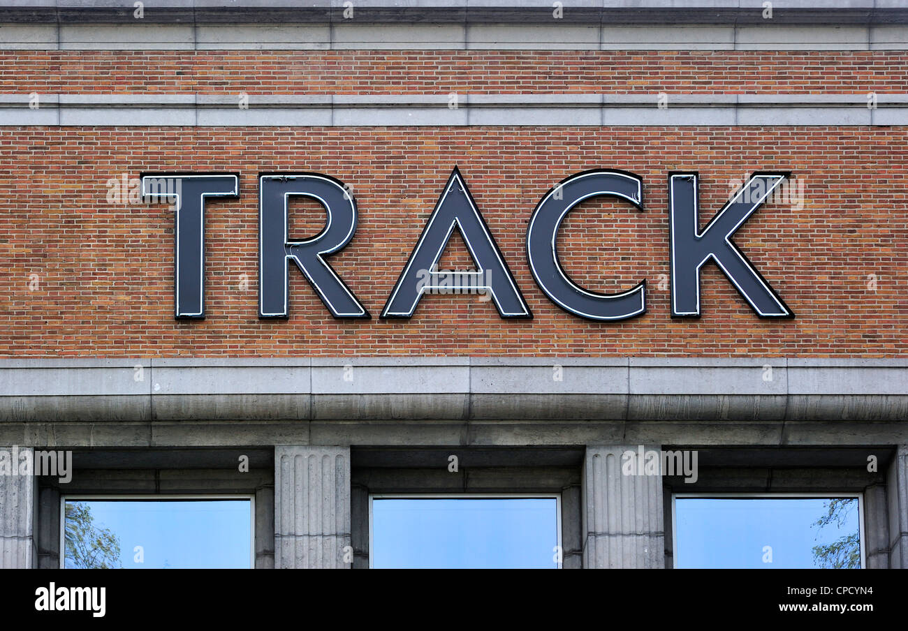 TRACK logo on the City Museum for Contemporary Art / SMAK during the 2012 temporary exhibition of modern art at - Stock Image