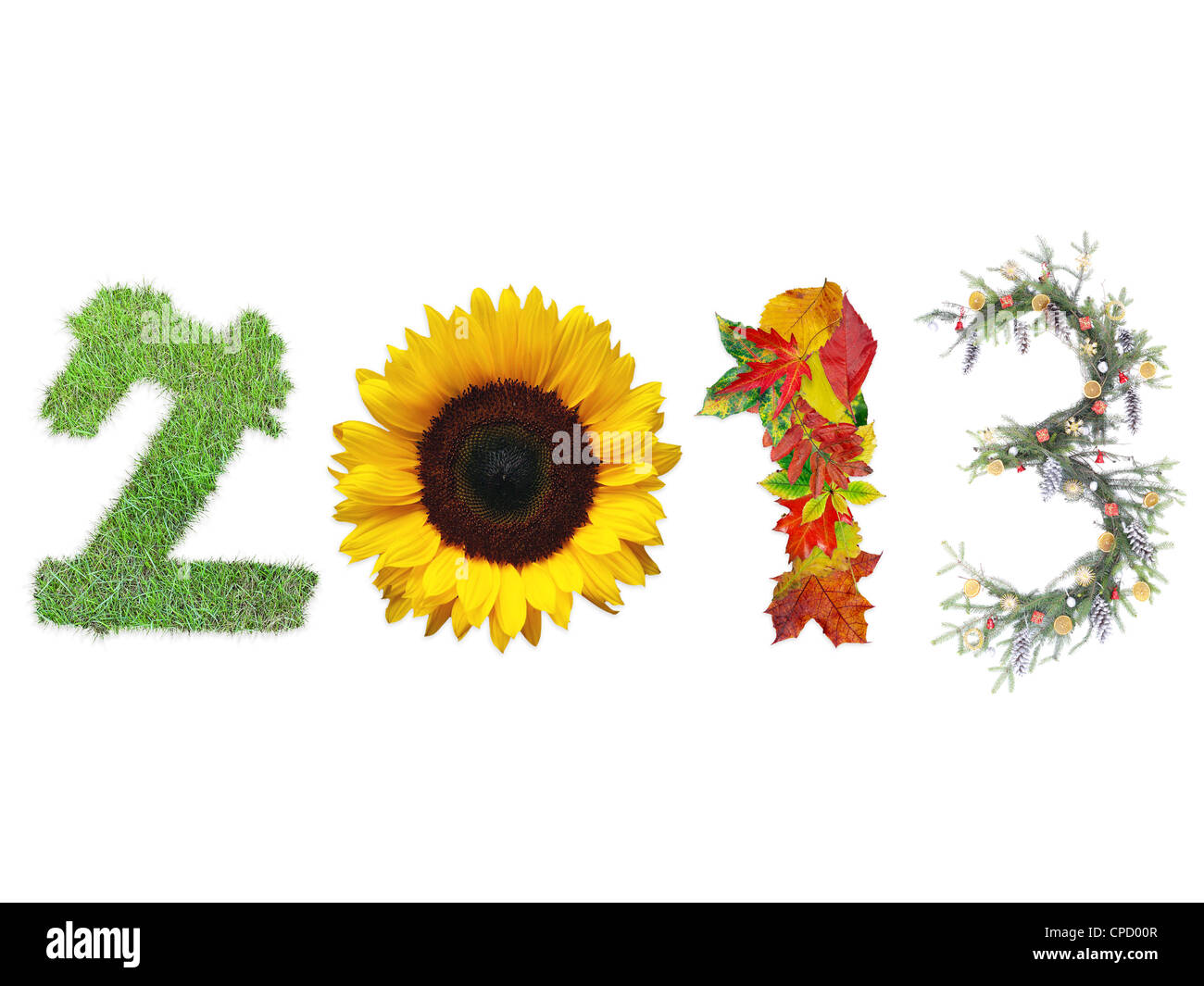 2013 digits made of fresh grass, sunflower, dead fall leaves and christmas wreath representing four season of the - Stock Image